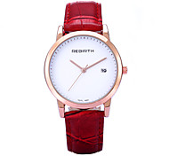 REBIRTH Brand Women's Simple Fashion Date Display PU Leather Strap Quartz Wrist Watch