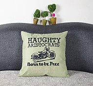 Motorcycle  Print Linen Pillow Cover