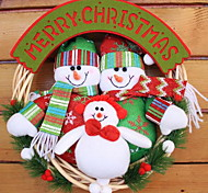 Door Hanging Plush Santa Claus Snowman Elk Rattan Christmas Wreath Window Ornaments Scene (Random Shape)