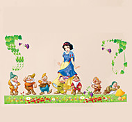 Cartoon Snow White And The Seven Dwarfs Wall Stickers Fashion DIY Children's Bedroom Living Room Wall Decals