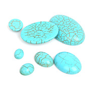 Beadia 30Pcs 8x10mm Oval Synthetic Turquoise Stone Cabochons Beads