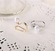 Gold / ilver Ohr Stulpe Ohrring mit Perle (1pc)