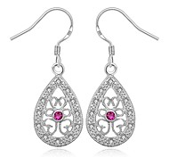 Women's Gorgeous Red Gem Drop 925 Silver Plated Earrings