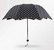 Black / Pink Folding Umbrella Sunny and Rainy Textile Travel / Lady