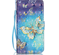 3D Painted Butterfly Pattern PU Material Phone Case for iPhone iPhone 5/5S/5E/6/6S/6S Plus/6 Plus