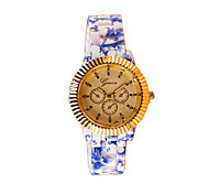 Women's Fashion Flower Pattern Silicone Casual Quartz Watch