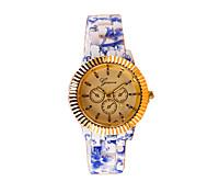 flor moda padrão silicone relógio de quartzo casuais das mulheres