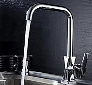 Contemporary Chrome Finish 360 Degree Rotation Single Handle Single Hole Dual Contral Kitchen Faucet