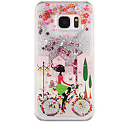 Bicycle Girl Pattern Flowing Quicksand Liquid Glitter Plastic PC For Samsung Galaxy S7 edge Galaxy S7