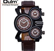 Oulm1167-2 Men's Watch Him Three Machine Core Military Watches Genuine Leather Strap Wrist Watch