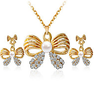 May Polly  Fashion Butterfly Pearl Diamond Necklace Earrings Set