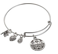 Women's Fashion Silver Love Letter Pattern Silver Charm Bracelet