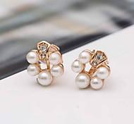 Women Alloy Golden Pearl Circle Clip Earrings