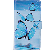 PU Leather Material Blue Butterfly Pattern Phone Case for Huawei P9 Lite/P9/P8 Lite