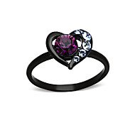 Valentine's Day Amethyst Heart Stainless Steel Stacking Ring IP Black Plating Women Top Grade Crystal Violet