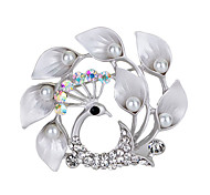 Women's Fashion Accessories Crystal Luxury Simulated Pearl Peacock Brooch Animal Pins Jewelry Daily/Party Brooches