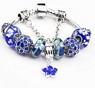 Blue Flower Strand Bracelet with Pendant Charm Bracelet(S:18,M:19,L:20cm)