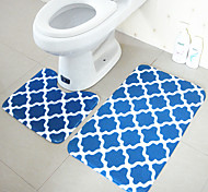 Modern Style Polyester 2PCs Bath Rugs Set (U-shaped Bath Rug,Rectangle Bath Rug)