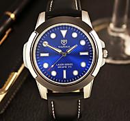 Men's Fashion Quartz Casual Watch PU Belt Big Blue Round Alloy Dial Noctilucence Watch Cool Watch Unique Watch