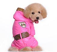 Dog Coat Blue / Pink Winter Floral / Botanical Keep Warm, Dog Clothes / Dog Clothing