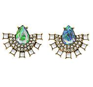 Colorful Rhinestone Fan Shape  Earrings