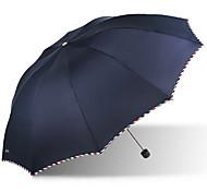 Blue / Purple Folding Umbrella Sunny and Rainy Textile Travel / Lady / Men