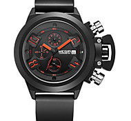 MEGIR® Men's White Silicone Band Black/White Case Wrist Dress Watch(Include Package)