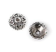 36pcs beadia plata antigua granos de la aleación del casquillo de 9x3mm forma de la flor granos del espaciador
