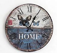 Модерн Деревенский Повседневный Семья Настенные часы,Круглый Дерево Применение В помещении На открытом воздухе Часы