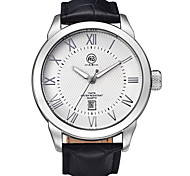 Ellis Silver Case White Dial Black Leather Strap Watch
