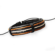 Unisex Fashion Jewelry Handmade Adjustable Genuine Leather Bracelets With Hemp Rope Casual/Daily