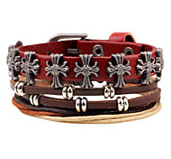Unisex Fashion Jewelry Gift Punk Alloy Handmade Adjustable Strand Wristband Leather Bracelet Causal/Daily Women Men
