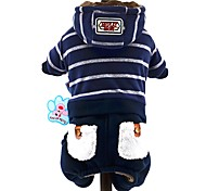 Dog Hoodie / Clothes/Jumpsuit Gray / Dark Blue Dog Clothes Winter / Spring/Fall Stripe Cute / Fashion