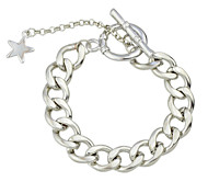 Silver Plated Metal Wide Chain Link Bracelets