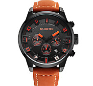 OCHSTIN Men's Multi-function Genuine Leather Strap Sport Wrist Watches with three sub dial(the second minute hour)