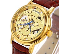 Men's Fashion Hollow Engraving China Dragon Skeleton Automatic Mechanical Watch with Genuine Leather
