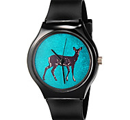 Children's Fashion Lovely Deer Pattern Casual Wrist Quartz Watch with Silicone Wristband