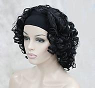 nueva moda 3/4 peluca con corto rizado media peluca sintética de la venda de la mujer