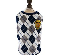 Dog Clothes English Diamond Lattice Printed Flannel Red Yellow Grey Vest For Pet Dog Cool Clothes