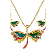 Colorful Enamel Butterfly Pendant Necklace Drop Earrings Jewelry Sets