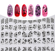 3D Black Flowers Nail Stickers Decals Metallic Mixed Designs DIY Nail Art Decoration Tool