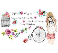 Романтика / Цветы / люди Наклейки Простые наклейки Декоративные наклейки на стены,PVC материалВлажная чистка / Съемная / Положение