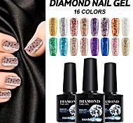 New Diamond Nail Gel Polish Noble Color 10ml Glitter Lacquer Soak off Varnish 16 Colors