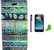 Tribal Flower Symbols Pattern PU Leather Case with Screen Protector and Stylus for iPhone 5C