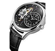 MEGIR Men's Leather Band Analog Quartz Dress Skeleton Watch for Wedding Party Gift (Include Package)