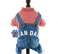 Dog Clothes/Jumpsuit Yellow / Pink / Dark Blue / Light Blue Dog Clothes Winter / Spring/Fall Jeans Holiday / Fashion