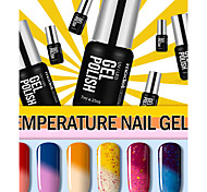 6PCS New Colors Chameleon Color Changing with Temperature UV Gel Polish Nail Lacquer 7ml