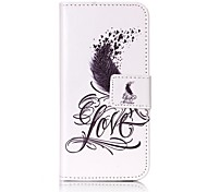 Black Feather Strong Relief Colored Card Holder PU Material Leather for  iPhone 7 6s  SE 5s 5