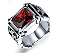 Vintage Ring Men Punk Rock RED Agate Cross Mens Ring 316L Stainless Steel Men Jewelry