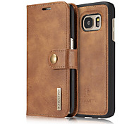 for Samsung Galaxy S7 S7 Edge Case Wallet Genuine Leather Cover Flip Card Holder Solid Color Two-in-One Cowhide Case